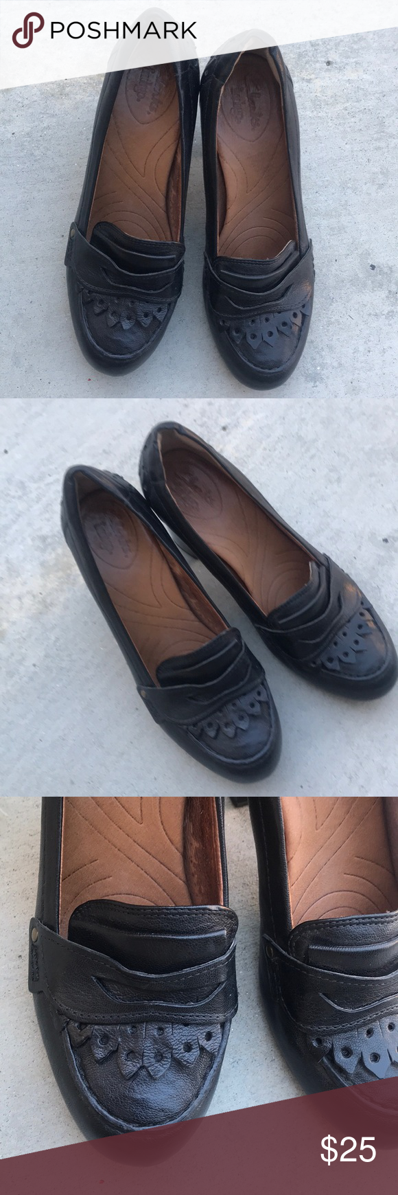 """6cdac195590 Clarks Indigo Town Leather Kiltie Penny Loafer Penny loafers in excellent  condition Al leather upper Approximately 3.25"""" heel Beautiful detail Super  ..."""