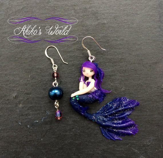 Boucles d'oreilles pendantes sirène bleu et violet par AkikosWorld
