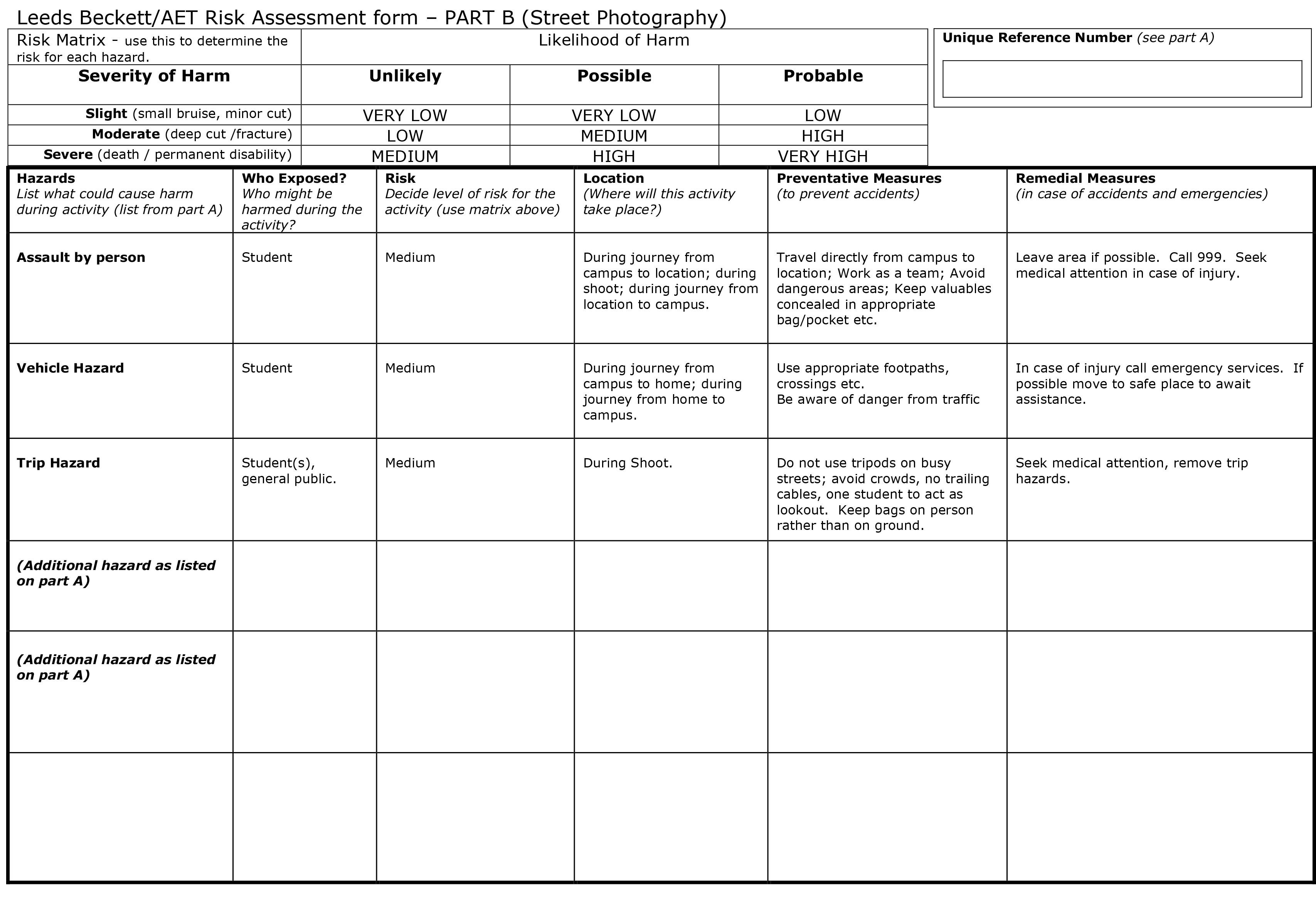 Here Is Our Pre Filled Out Part B Risk Assessment Form For Street