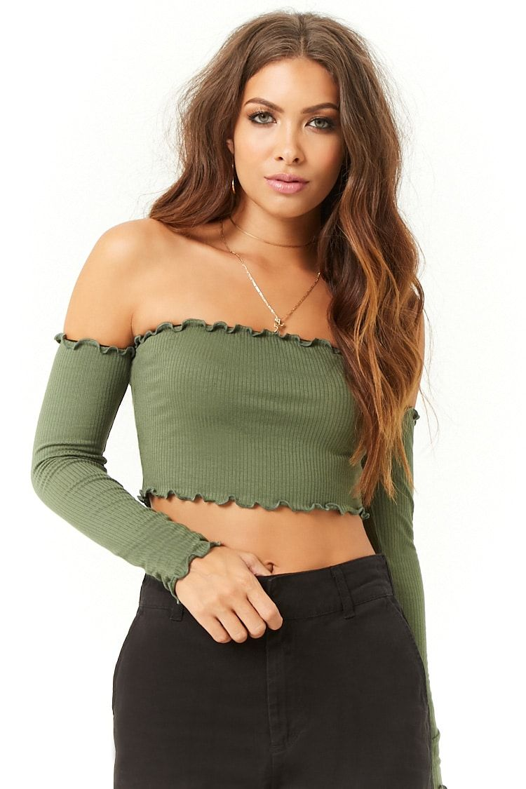3fceea36683d6 Product Name Ribbed Lettuce-Edge Off-the-Shoulder Crop Top