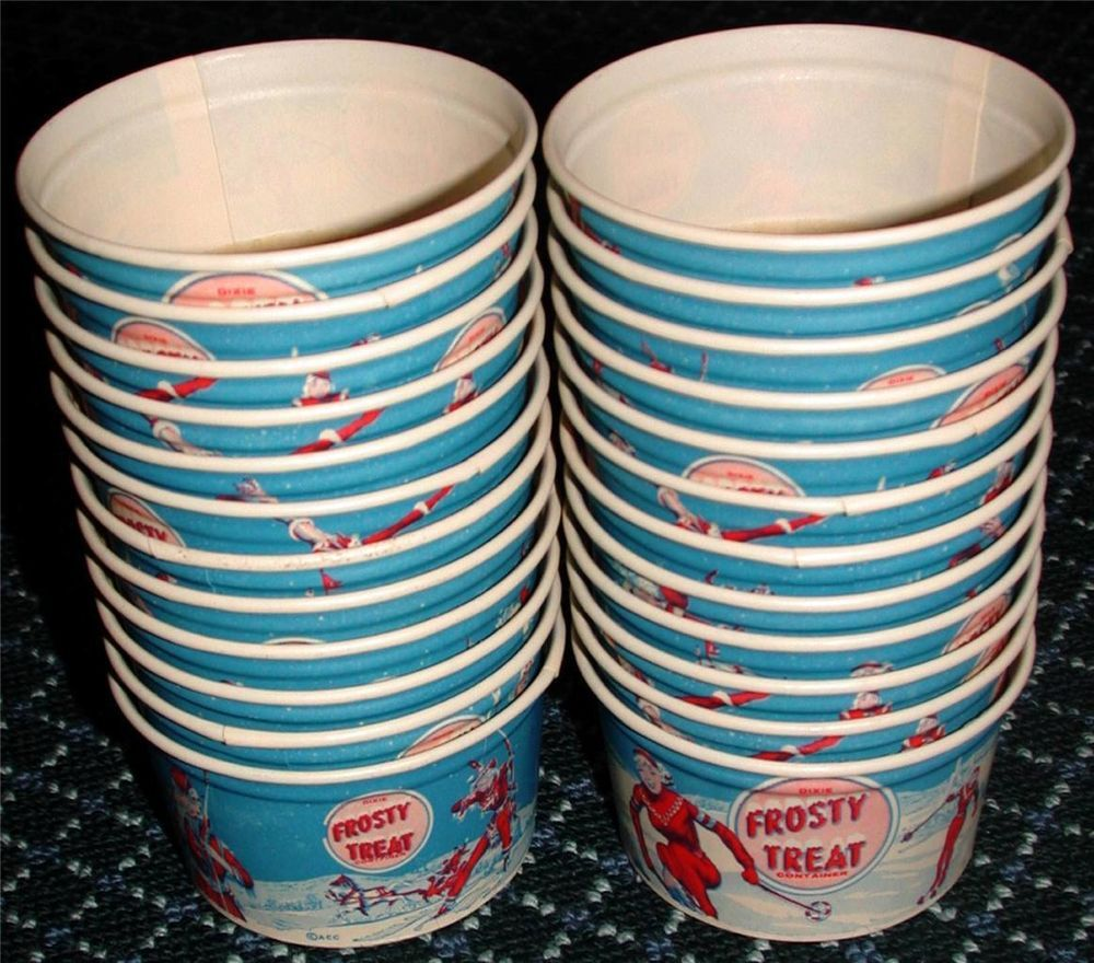 24 Vintage 50s FROSTY TREAT DIXIE Ice Cream CUPS Cowgirl