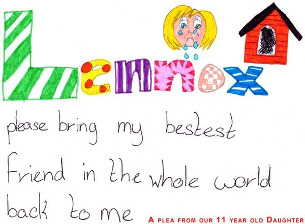 a plea from the 11 year old disabled daughter of the family who owns Lennox