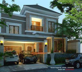 desain villa rumah tropis kolam renang | desain eksterior