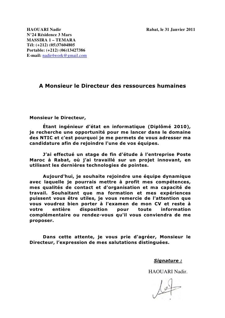 exemple lettre de motivation ingenieur informatique
