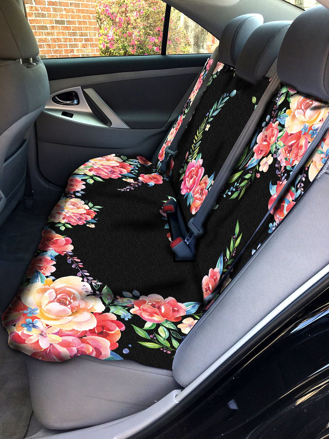 Classy Black Floral Car Seat Cover Back Seat Car Cover