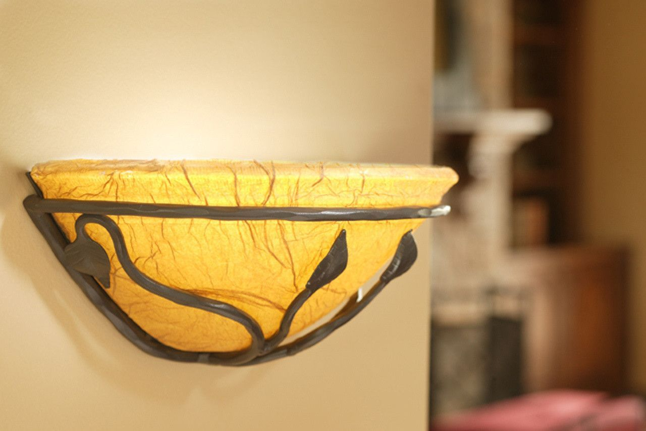 Stone County Ironworks 901-550 Leaf Wall Sconce (parchment shade ...