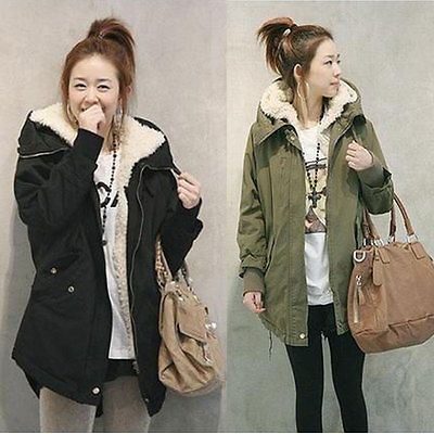 New Women Zip Hooded Parka Thick Fleece Warm Winter Coat Overcoat Long  Jacket