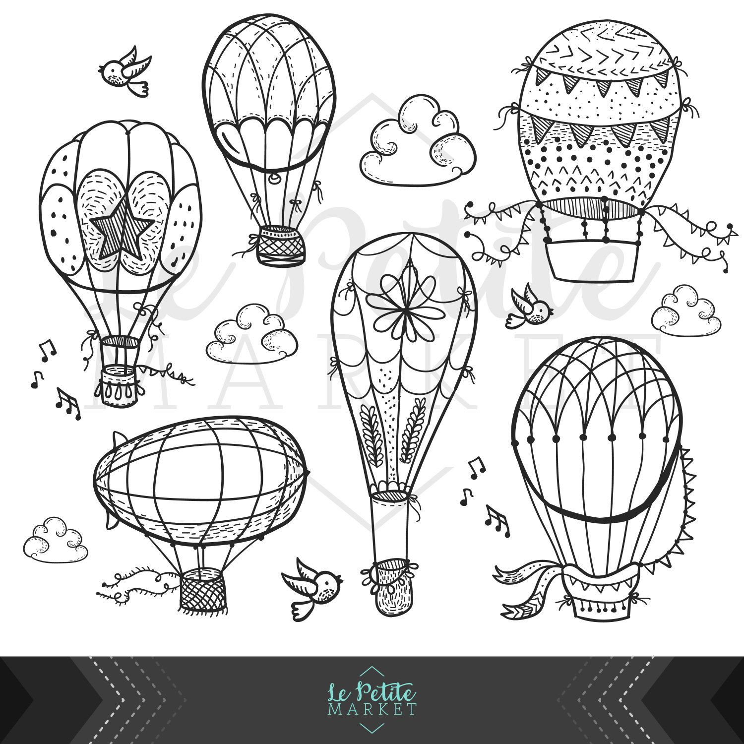 Cute Hand Drawn Hot Air Balloon Clip Art Doodle Hot Air Etsy How To Draw Hands Doodle Coloring Doodle Art