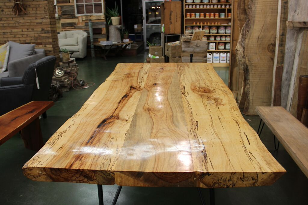 New Living Is Closed Wood Slab Table Pecan Wood Rustic