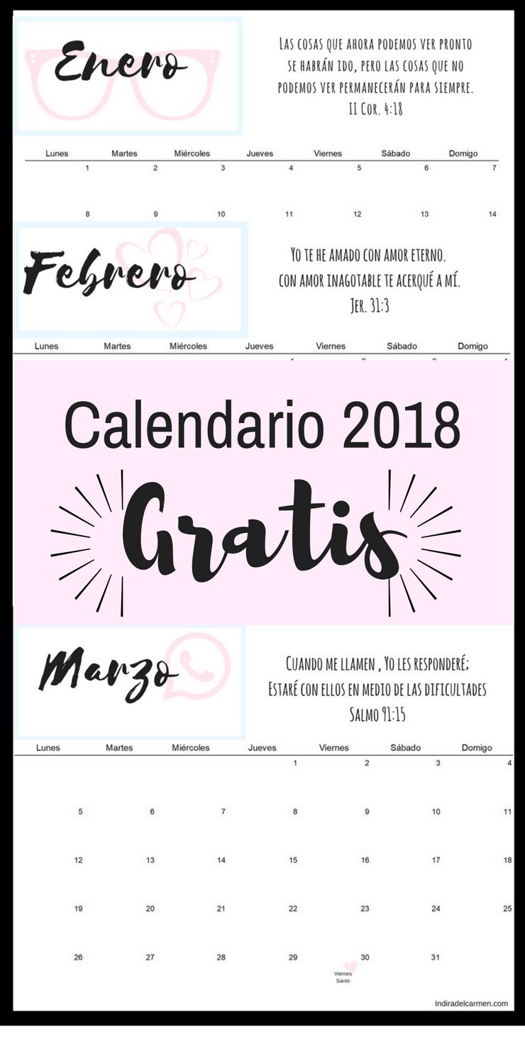 Calendario 2018 gratis para imprimir indiradelcarmen.com ...