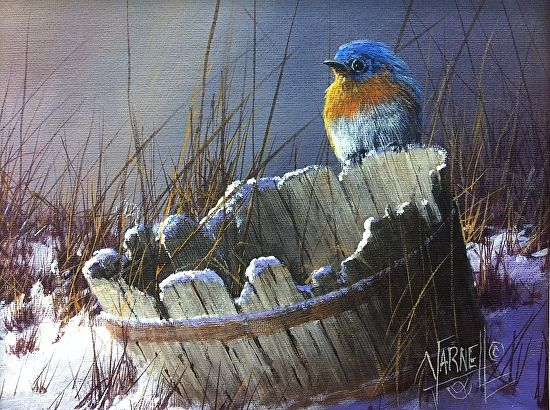 BlueBird on a Bucket by Joseph Yarnell Acrylic ~ 8 x 10