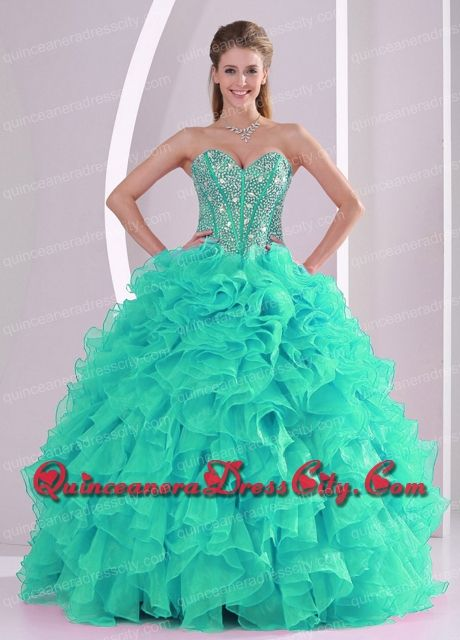 Discount Fall Ball Gown Sweetheart Ruffles and Beaded Decorate Turquoise Quinceanera Dresses