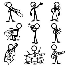 stick figure people jazz musicians vector art illustration
