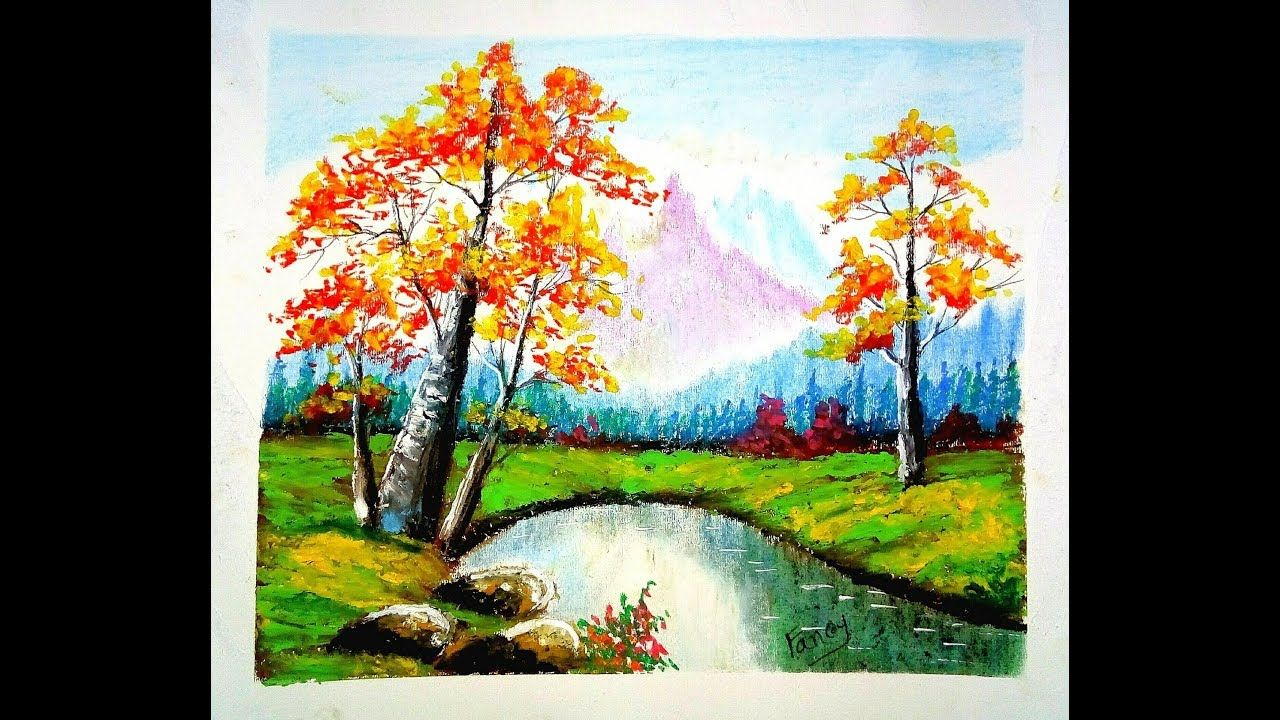 A Beautiful Landscape Scenery Drawing With Oil Pastel Oil Pastel Drawings Easy Landscape Paintings Oil Pastel