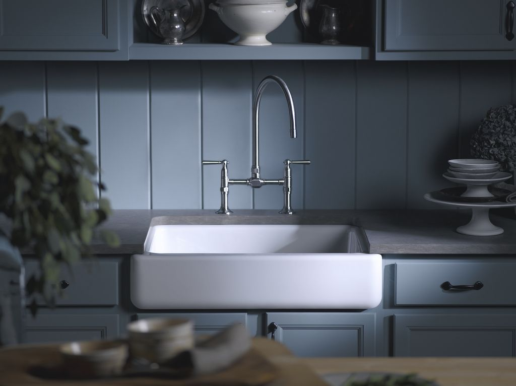 The Whitehaven Apron Front Sink Pops Against Powder Blue Cabinets