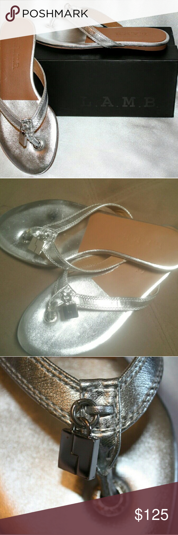 NWOB L.A.M.B. Silver Thong Sandal Brand new w/out box. Adorable & trendy L.A.M.B. Leather thongs. Padded insole, leather outsole. Retail $199 L.A.M.B. Shoes Sandals
