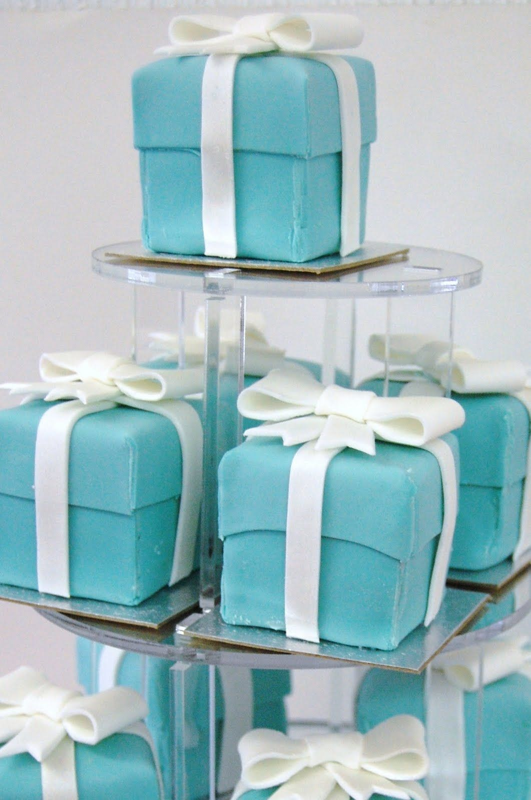 inspiration: cube cakes with fondant or frosting & a sour belt bow