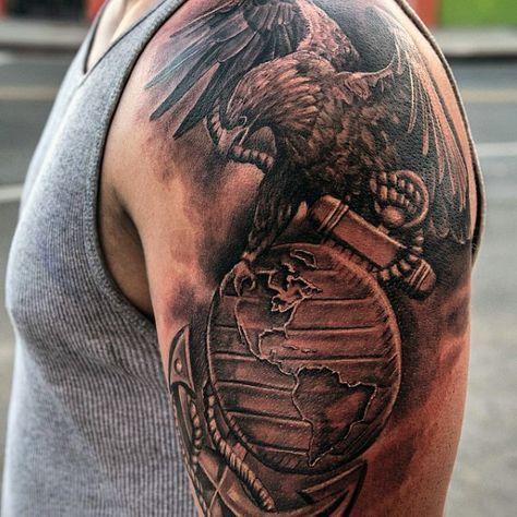 Military Eagle Globe Anchor Tattoo On Chest Photo
