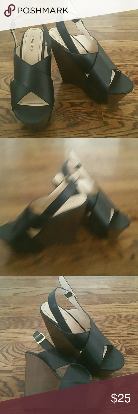 Wedges Brand new, never worn black heel wedges. Charlotte Russe Shoes Wedges