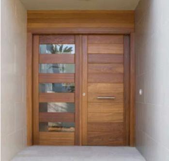 Puerta Exterior Combinada En Madera Y Cristal Translucido De Doble Hoja Disenos Colores Y Materiales A Eleccion Puertas Dobles Puertas Puertas De Entrada