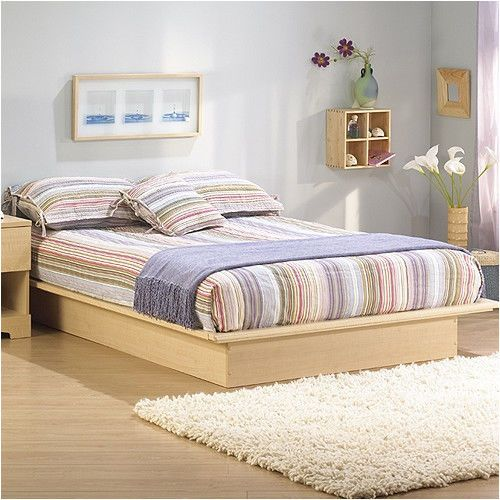 South Shore Platform Bed Frame Natural Maple Bedroom Furniture Two Sizes New