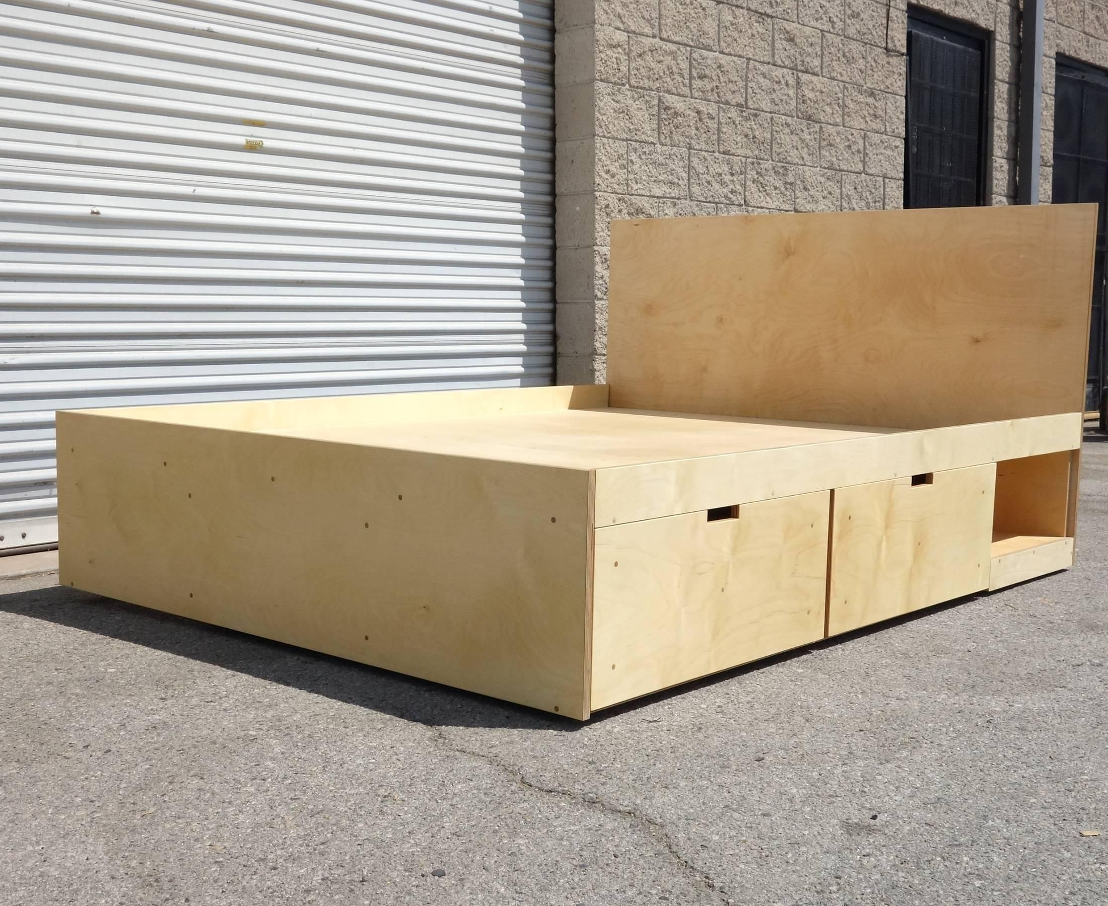 Waka Waka Contemporary Plywood Box Bed With Storage For Sale At