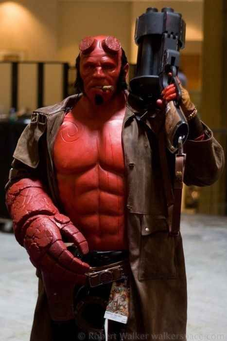 Hellboy wouldn't dare be caught without his cigar and Big Baby   20 Cosplays So Awesome It Makes You Wonder Why You Try