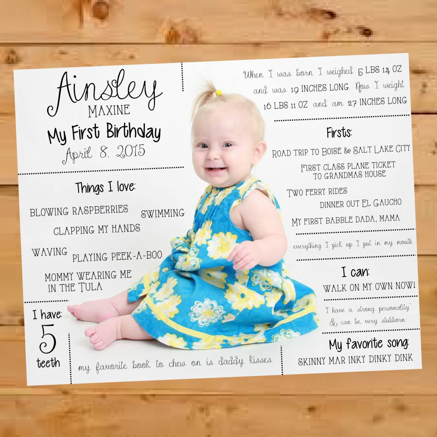 Scrapbook ideas baby milestones - First Birthday Infographic Baby Infographic Year In Review First Birthday First Birthday Scrapbook