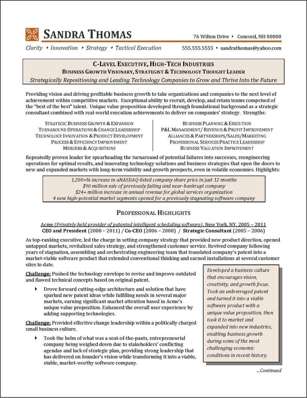 National award-winning executive resume examples, executive cover ...