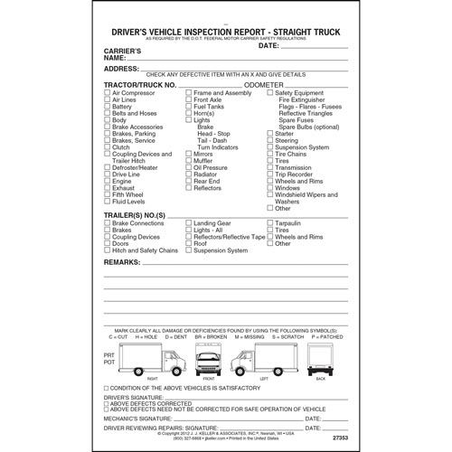 Detailed Driveru0027s Vehicle Inspection Report - Straight Truck, Snap - dot physical form