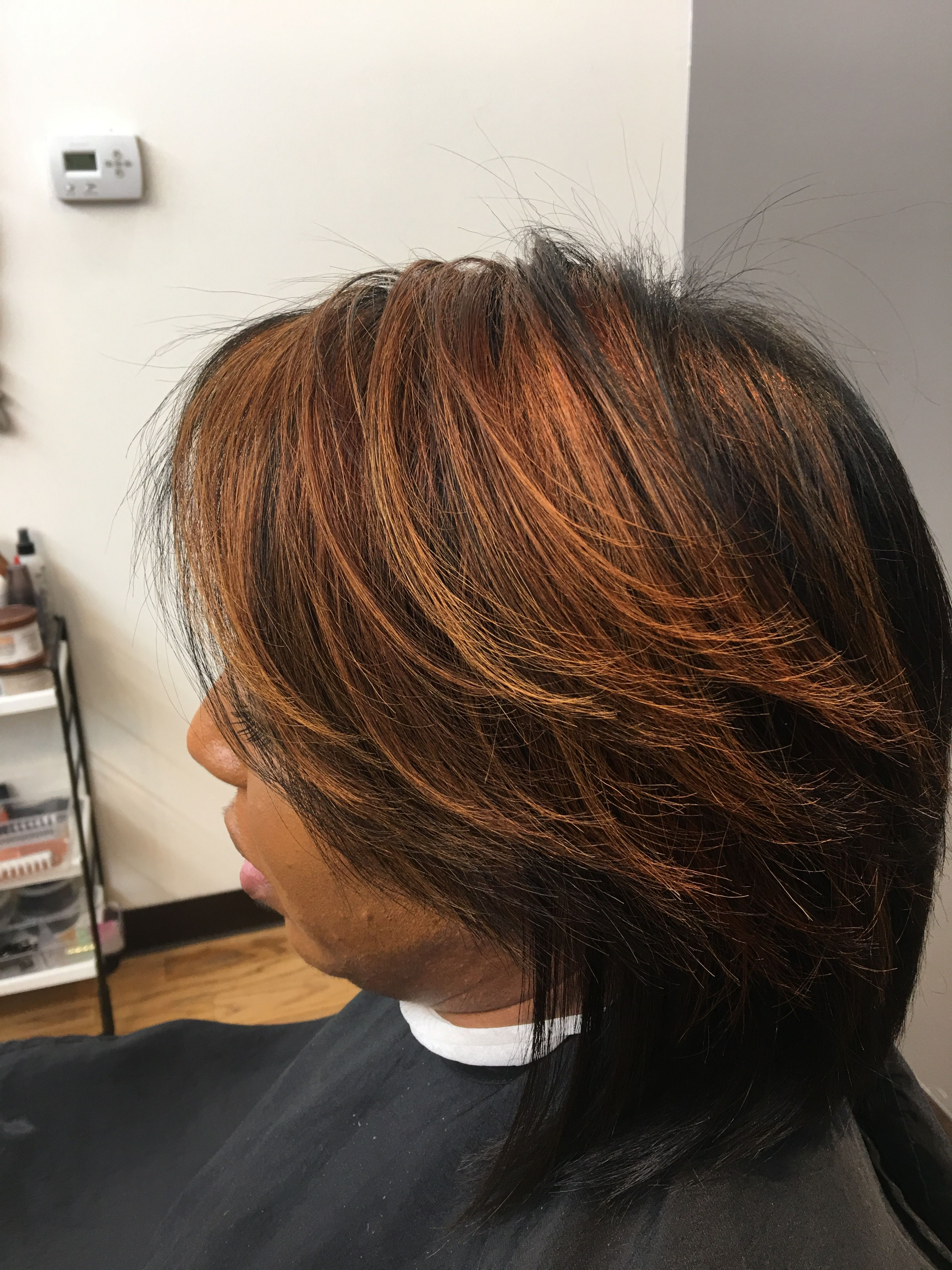 Block color golden highlights hand painted balayage ombré natural