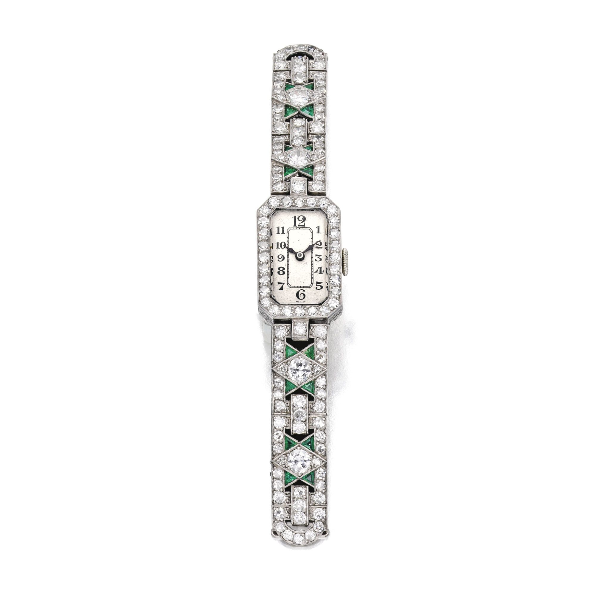 circa ladies s extremely emerald art platinum watches fine diamond a pin and deco