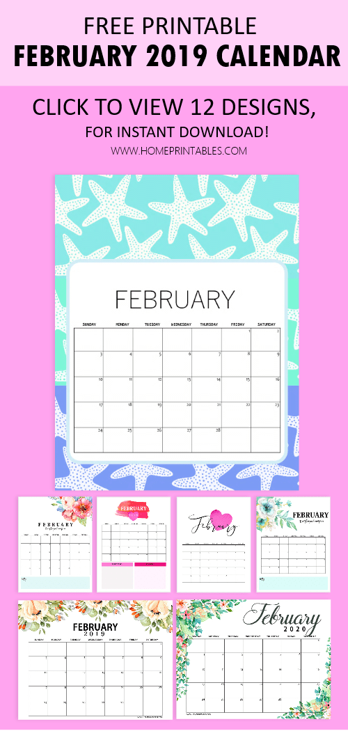 12 Free Printable February 2019 Calendar To Love All Pretty