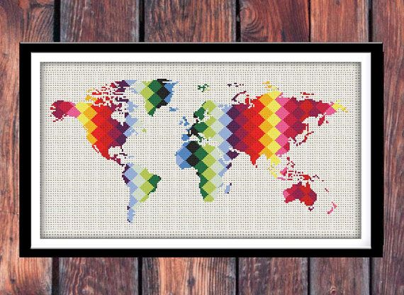BOGO FREE. Geometric World Map Cross Stitch Pattern.(#P  1352