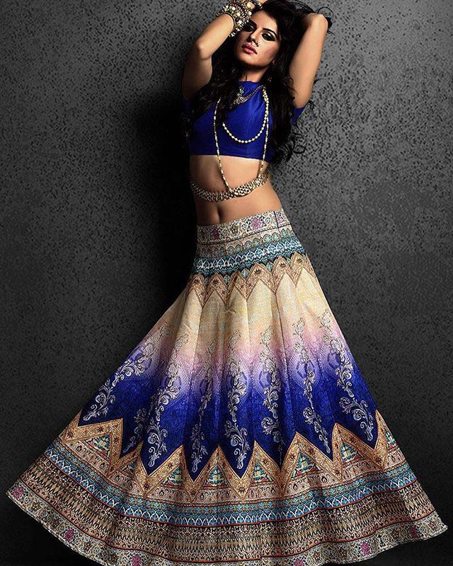 3e95ef4a28 Printed silk Lehenga with plain blouse and net dupatta To purchase this  product mail us at houseof2@live.com or whatsapp us on +919833411702