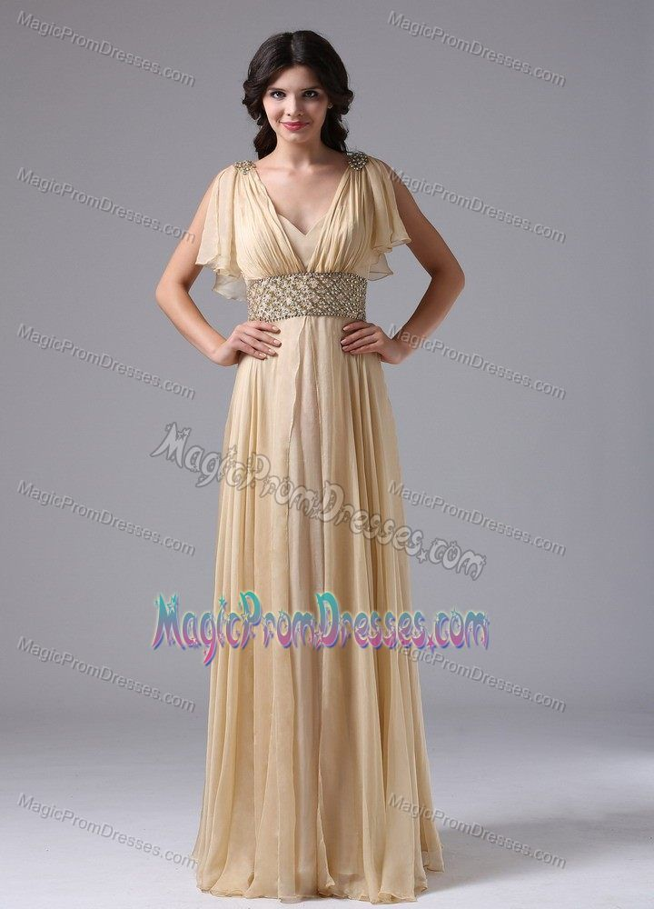 V Neck Champagne Maxi Prom Dresses For Summer With Beaded Waist