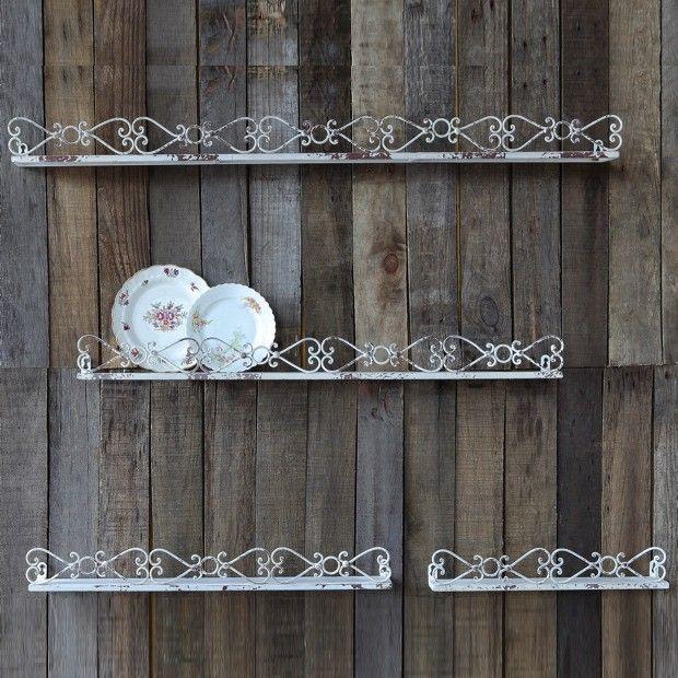 Wood And Metal Wall Shelves rustic metal wall shelves, set of 4 | metal walls, metal edging