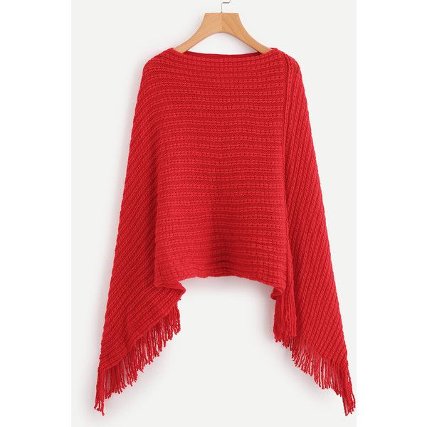 113dc9ed68 SheIn offers Fringe Hem Poncho Sweater   more to fit your fashionable needs.