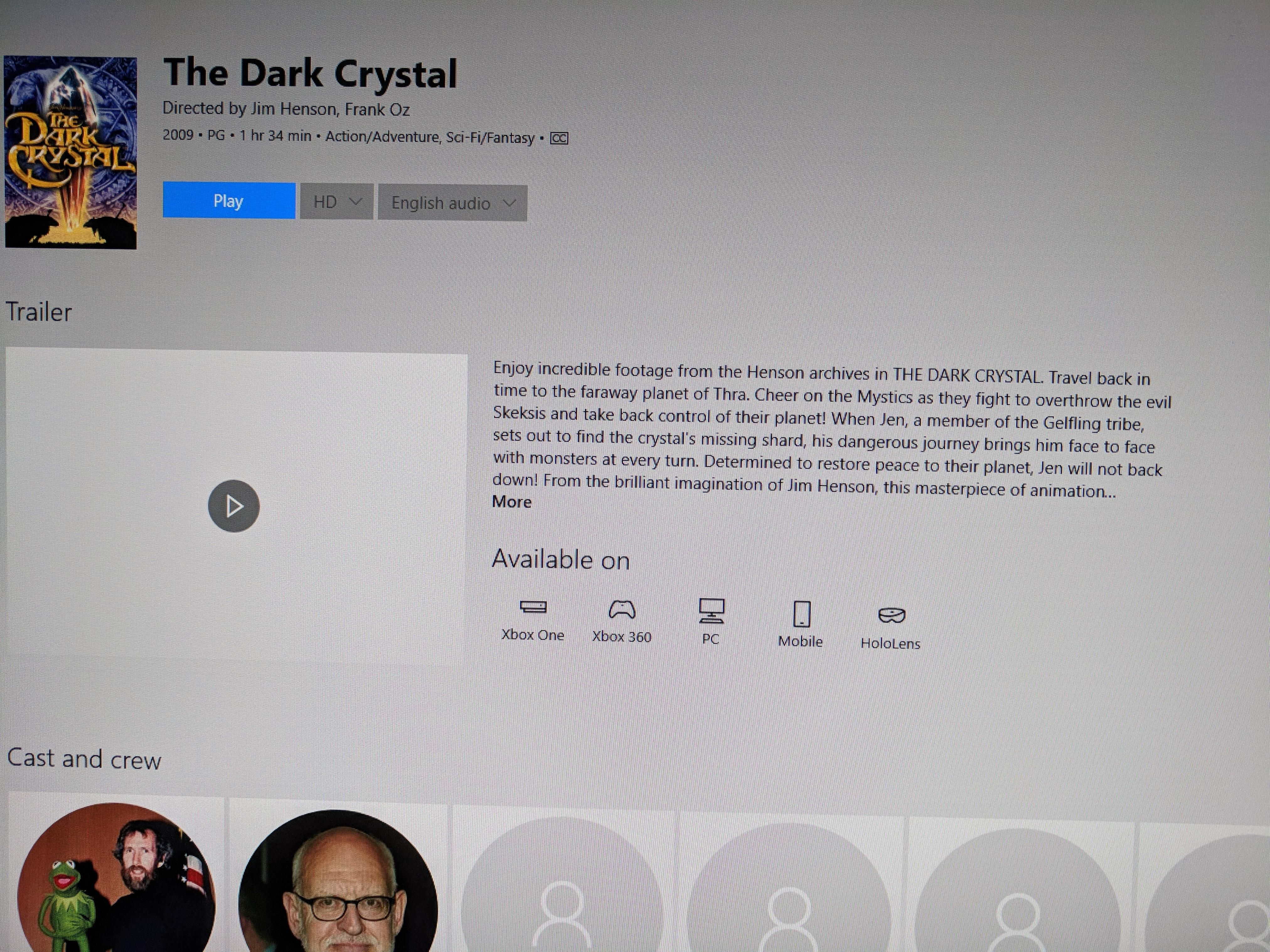 the dark crystal is free to rent today from the microsoft store