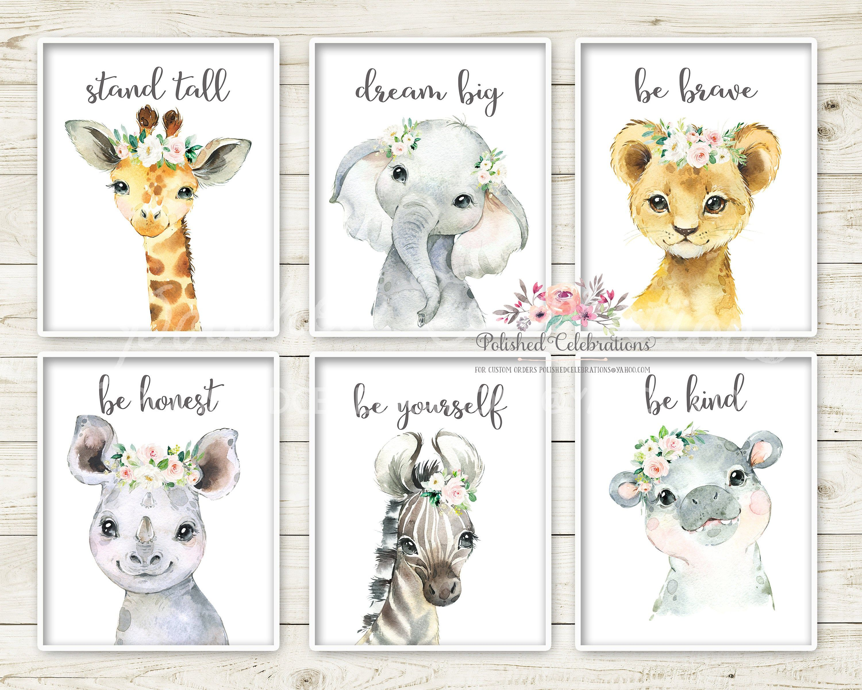 nursery prints set pink nursery art Nursery decor jungle nursery prints animal Nursery decor girl woodland elephant giraffe bear bunny