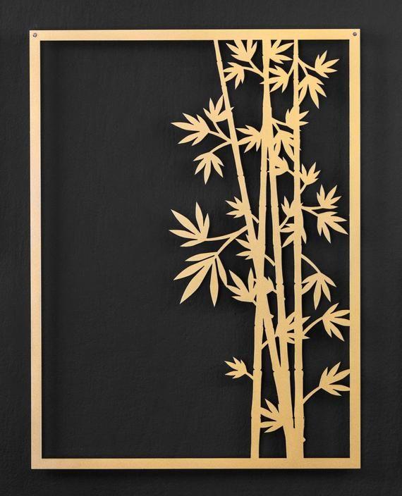 Gold leaf art Bloomi | Etsy | Metal wall art decor, Bamboo ...