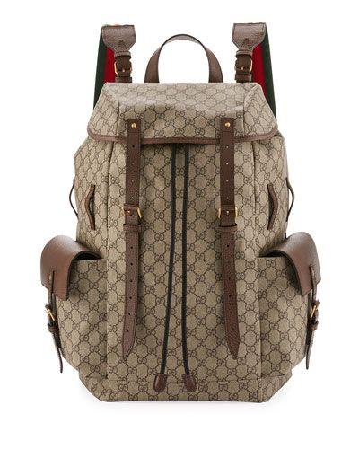 64d31de194a GUCCI Soft Gg Supreme Men S Backpack With Web Straps