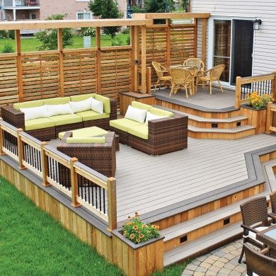 deck, raised, with low paved area in lieu of a deck