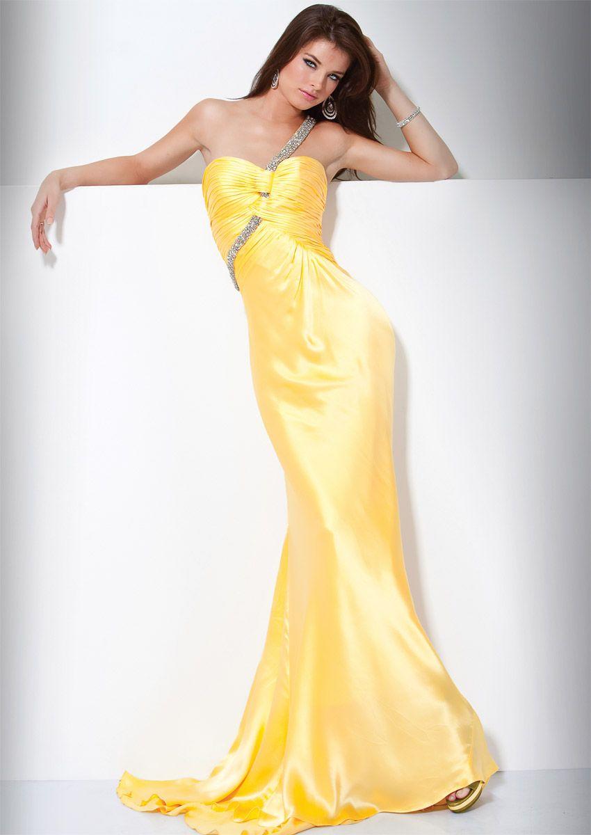 Yellow mermaid dress yellow mermaid one shoulder open back sweep