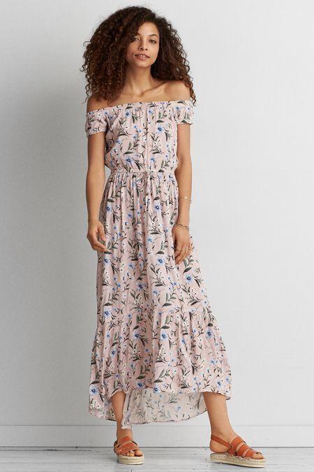 c7e8c206f56e American Eagle Outfitters AE Off-The-Shoulder Printed Maxi Dress ...
