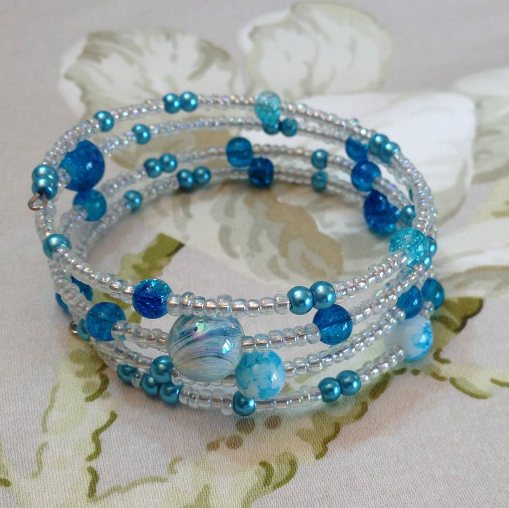 Shades Of Turquoise Hand Crafted Crackle Glass Beads Memory Wire ...