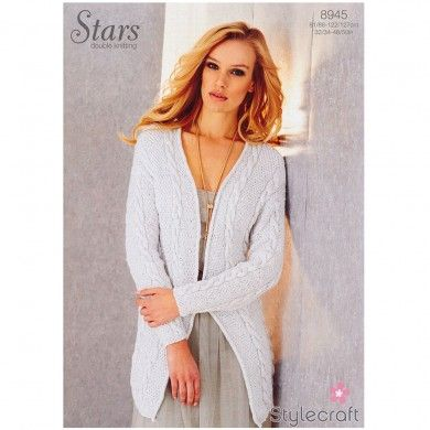 Cable Cardigan in Stylecraft Stars DK - 8945