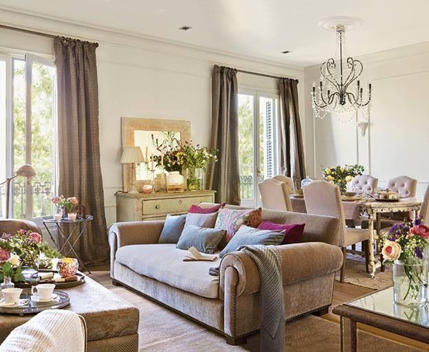 Saln shabby chic clsico elegante decoracin sof mesa