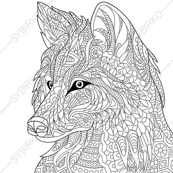 Wolf Adult Coloring Page. Zentangle Doodle by