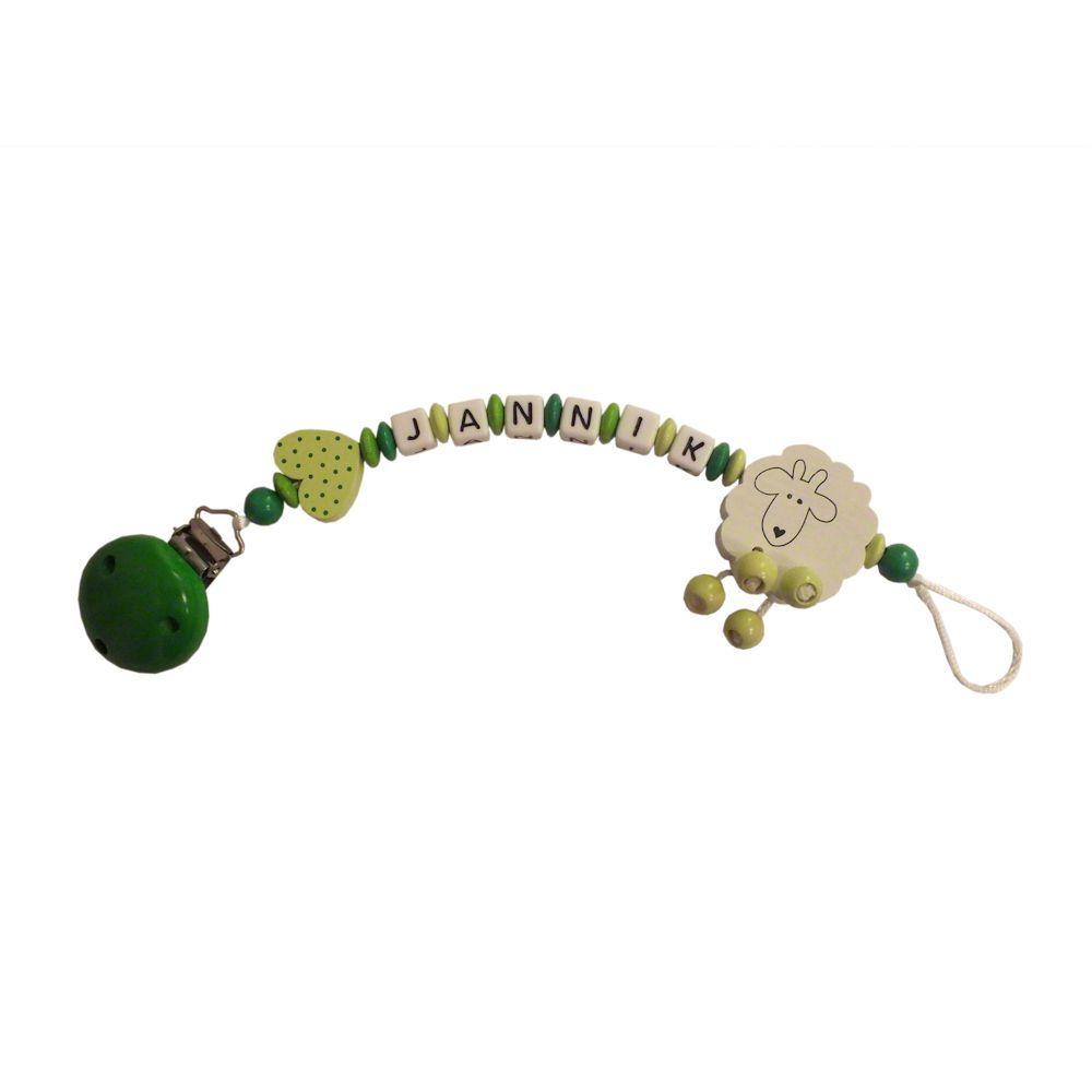 Schnullerkette Schäfchen grün/gelbgrün